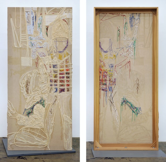 Dona Nelson,<em> Studio Portrait over Time</em>, 2016. Cheesecloth, muslin, painted string, and acrylic mediums on linen, 81 x 36 x 5 inches. Courtesy Thomas Erben, New York.