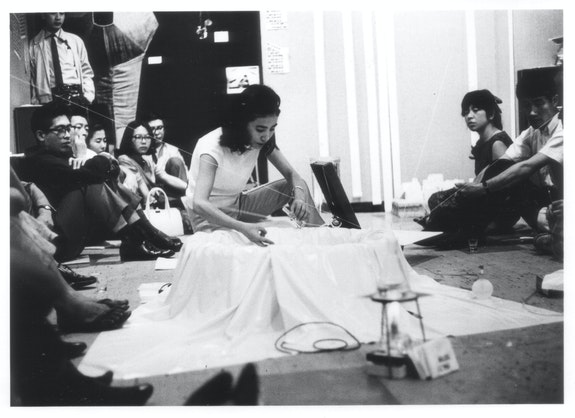 Mieko Shiomi, <em>Water Music</em>, performance during the Flux Week at Gallery Crystal, Tokyo, 1965. Photo: Teruo Nishiyama.
