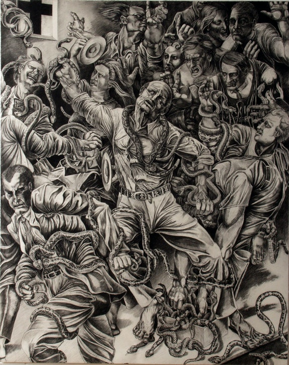 Gary Monroe, <em>Shorty Takes Up Serpents</em>, 1998, chalk and charcoal on paper, 60 x 48 inches. Courtesy CUE Art Foundation.