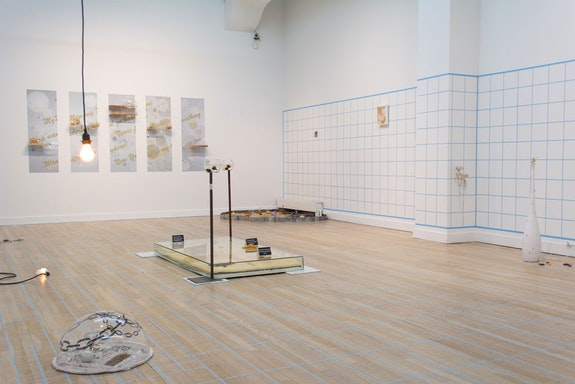 Installation view of <em>Mo Kong: Making A Stationary Rain On The North Pacific Ocean</em>, curated by Steffani Jemison, May 30 – July 11, 2019. Courtesy CUE Art Foundation.