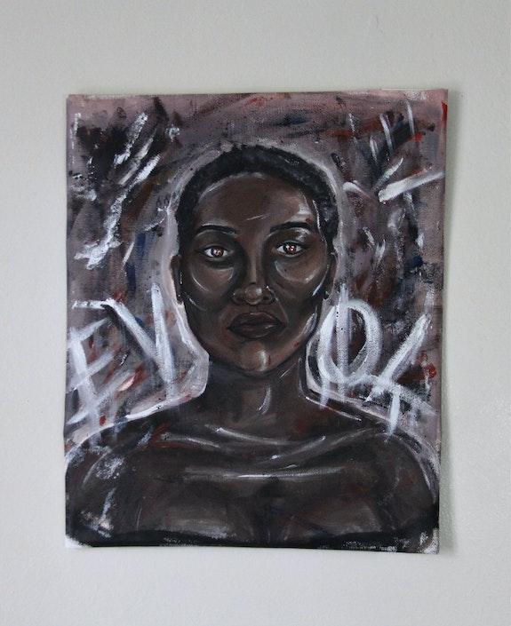 "Cassandra Junio,<em> Evol</em>, from the ""Revolution"" series, 2020, acrylic on canvas, 16 x 13.75 inches. Courtesy CUE Art Foundation."