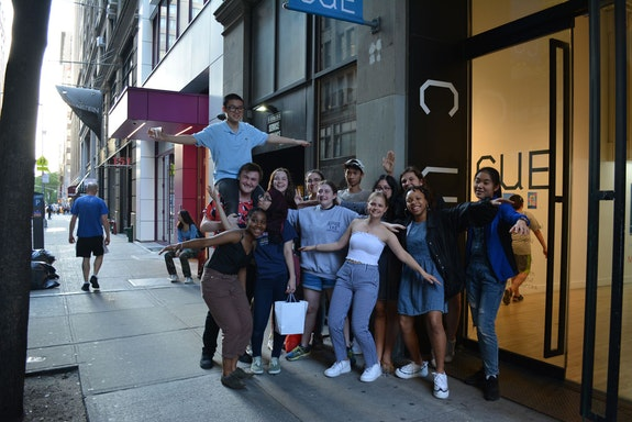 CUE Teen Collective students at the opening of their final exhibition, Home, on May 25, 2018. Courtesy CUE Art Foundation.