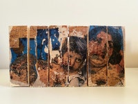 Maliheh Zafarnezhad, <em>Bonding</em>, 2020. Photo transfer and collage on assembled wood blocks.