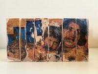 Maliheh Zafarnezhad, <em>Bonding</em>, 2020. Photo transfer and collage on assembled wood blocks.