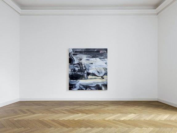 Liliane Tomasko, <em>We Sleep Where We Fall</em>, 2019-20. Acrylic and acrylic spray on linen, 82 x 76 inches. Courtesy KEWENIG, Berlin.