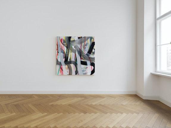 Liliane Tomasko, <em>Hold on to Yourself 5/31/2020</em>, 2020. Acrylic and acrylic spray on linen, 63 x 63 inches. Courtesy KEWENIG, Berlin.