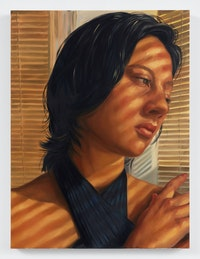 Chloe Wise, <em>I'm so-and-so and I exist!</em>, 2021. Oil on linen, 48 x 36 x 1 1/2 inches. Courtesy Almine Rech. Photo: Dan Bradica.