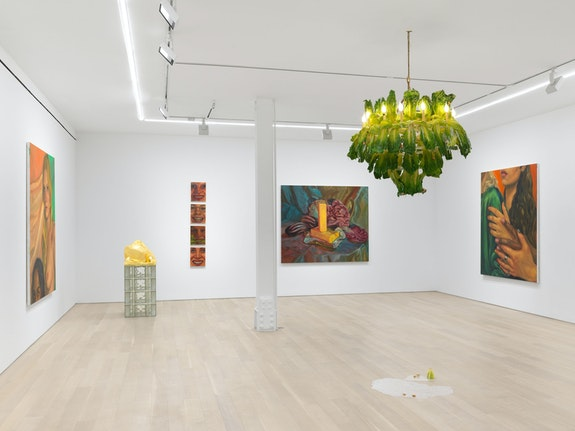 Installation view: <em>Chloe Wise: Thank You For The Nice Fire</em>, Almine Rech, New York, 2020. Courtesy Almine Rech. Photo: Dan Bradica.