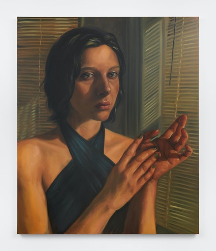 Chloe Wise, <em>Love in the time of Hydroxychloroquine</em>, 2021. Oil on linen, 72 x 60 x 1 1/2 inches. Courtesy Almine Rech, New York.