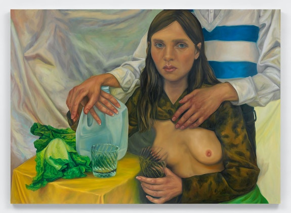 Chloe Wise, <em>All that free speech is very expensive</em>, 2021. Oil on linen, 72 x 100 x 1 1/2 inches. Courtesy Almine Rech, New York.
