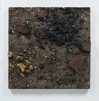 Boyle Family, <em>Demolition Fire Study with Lock and Trivet</em>, 1989. Mixed media, resin, fibreglass, 48 1/8 × 48 1/8 inches. © Boyle Fanily; Courtesy of the artist and Luhring Augustine, New York.