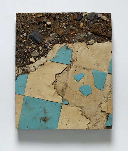 Boyle Family, <em>Study from the Japan Series with Broken Blue and White Linoleum and Debris, Miyazaki Prefecture</em>, 1990. Mixed media, resin, fibreglass, 35 7/8 × 29 7/8 inches. © Boyle Fanily; Courtesy of the artist and Luhring Augustine, New York.