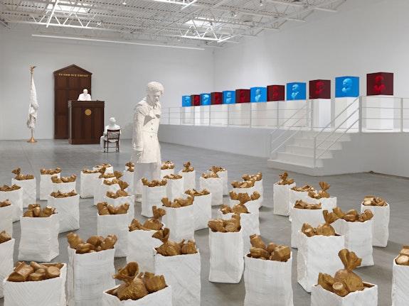 Installation view: <em>Karon Davis: No Good Deed Goes Unpunished</em>, Jeffrey Deitch, New York, 2021. Photo: Cooper Dodds and Genevieve Hanson. Courtesy of the artist and Jeffrey Deitch, New York.