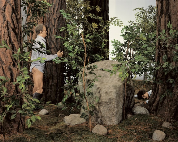 Paul McCarthy, <em>The Garden</em>, 1991-1992. Wood, fiberglass, steel, electric motors, latex rubber, foam rubber, wigs, clothing, artificial turf, leaves, pine needles, rocks, and trees. 30 x 20 x 22 ft. Photo: Fredrik Nilsen. © Paul McCarthy. Courtesy the artist and Hauser & Wirth.