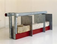 """Anthony Caro. """"Chalk Line"""", (2006). Stone & steel, galvanised and painted. 49 x 144 x 36 in."""