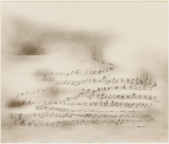 Norman Lewis, <em>The Messenger</em>, 1952. Charcoal and ink on paper, 26 x 30 3/8 inches. The Museum of Modern Art, New York. Gift of Blanchette Hooker Rockefeller. © Estate of Norman Lewis. Courtesy Michael Rosenfeld Gallery LLC, New York, NY.
