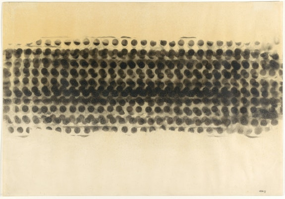 Otto Piene, <em>Untitled (Smoke Drawing)</em>, 1959. Soot on paper, 20 x 29 inches. The Museum of Modern Art, New York. Purchased with funds provided by Sheldon H. Solow. © 2019 Otto Piene / Artists Rights Society (ARS), New York / VG Bild-Kunst, Germany.