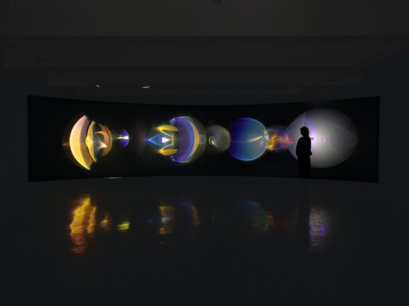 Olafur Eliasson, <em>Your ocular relief</em>, 2021. Projection screen, aluminum stands, LED projectors with optical components, lens enclosures with integrated motors, electrical ballasts, control units, 106 x 394 x 185 inches. Courtesy the artist and Tanya Bonakdar Gallery, New York / Los Angeles. Photo: Tom Powell Imaging.