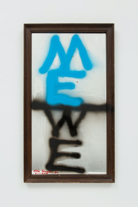 Otis Houston Jr., <em>ME/WE (Muhammad Ali)</em>, 2020. Spray paint and marker on found object, 32 1/4 x 18 3/8 x 1 inches. Courtesy Gordon Robichaux, NY. Photo: Greg Carideo.