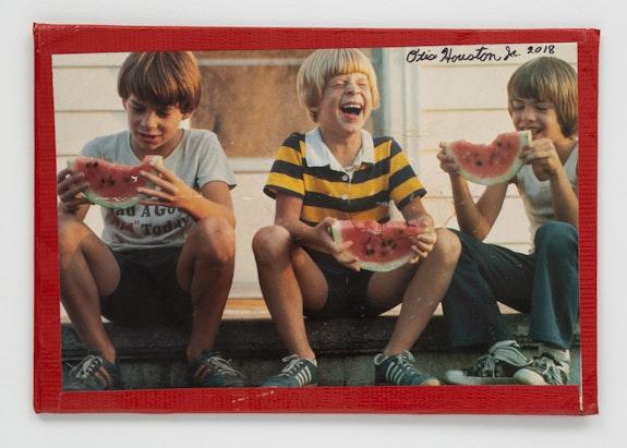Otis Houston Jr., <em>Watermelon Man</em>, 2018. Found photograph, board, tape, marker, 11 x 16 inches. Courtesy Gordon Robichaux, NY. Photo: Greg Carideo.