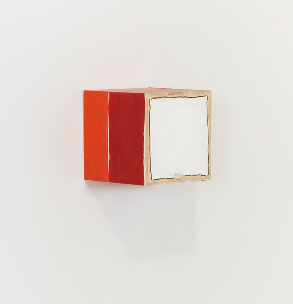 Cordy Ryman, <em>Frame Trace #10</em>, 2020. Acrylic and graphite on wood, 2 1/2 x 2 1/2 x 2 1/2 inches. Courtesy Freight + Volume.