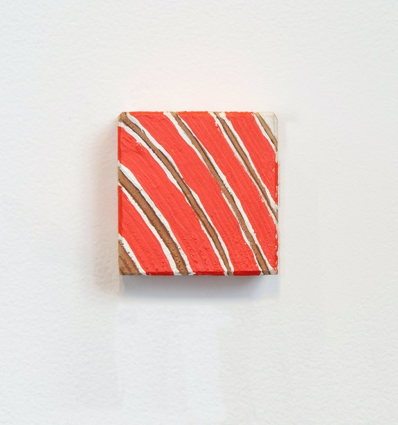 Cordy Ryman, <em>Northeastern Curves #1</em>, 2020. Acrylic and graphite on wood, 2 1/2 x 2 1/2 x 1 1/2 inches. Courtesy Freight + Volume.