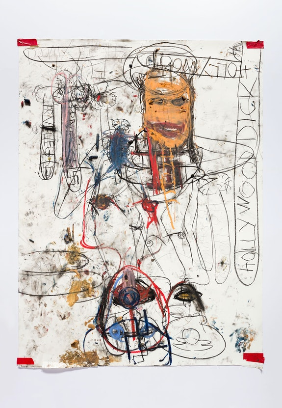 Paul McCarthy, <em>NV HOLLYWOOD</em>, 2019. charcoal, oil stick, pencil, peanut butter, tape on paper. 97.75 x 73.25 x 1.25 inches. © Paul McCarthy. Courtesy the artist and Hauser & Wirth.