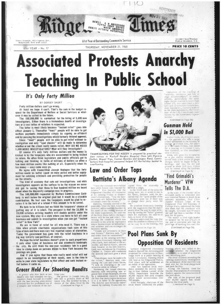 A typical 1968 front page announcing a taxpayer group protesting against 'Anarchy teaching in schools
