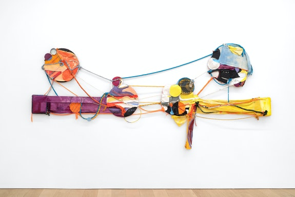 Rachel Eulena Williams, <em>Don't Have to Touch Me to Feel Me</em>, 2020. Silkscreen, acrylic paint, and dye on canvas, panel, and cotton rope, 67 x 143 x 3 inches. Courtesy the artist and Canada, New York. Photo: Joe DeNardo.