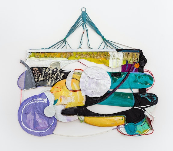 Rachel Eulena Williams, <em>Dark Clay</em>, 2021. Acrylic paint and dye on hammock, canvas and cotton rope, 67 3/8 x 74 1/8 x 2 3/8 inches. Courtesy the artist and the Modern institute, Glasgow.