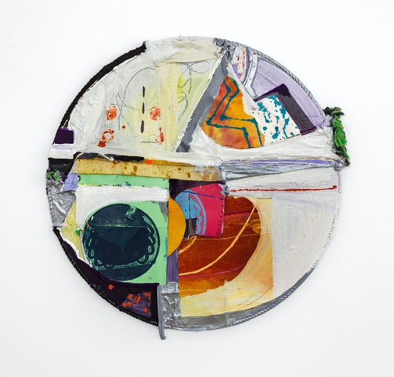 Rachel Eulena Williams, <em>Snow Sounds</em>, 2021. Silkscreen on card, dye and acrylic paint on panel, canvas and cotton rope, 38 5/8 x 38 5/8 x 2 inches. Courtesy the artist and the Modern institute, Glasgow.
