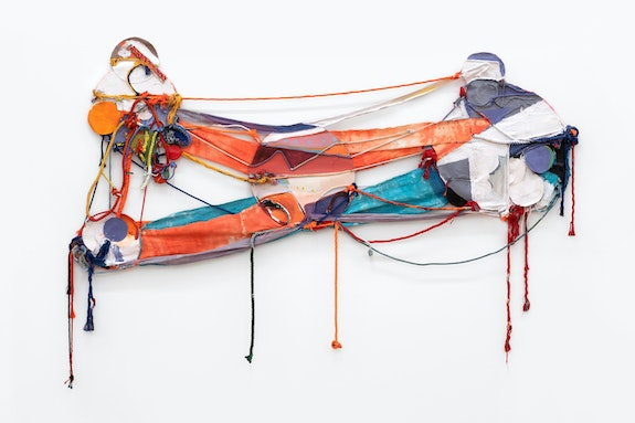 Rachel Eulena Williams, <em>Orange Blood</em>, 2020. Acrylic paint and dye on canvas, panel, and cotton rope, 60 x 98 x 3 inches. Courtesy the artist and Canada, New York. Photo: Joe DeNardo.