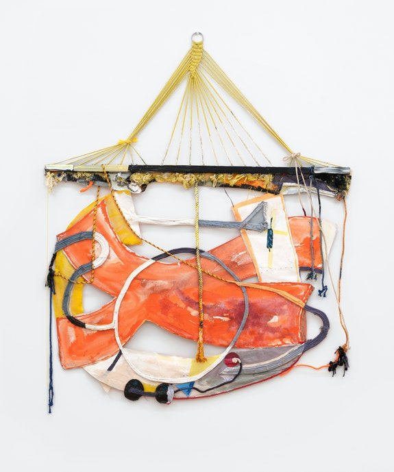 Rachel Eulena Williams, <em>Red Grey Clay</em>, 2020. Silkscreen on card, dye and acrylic paint on hammock, canvas and cotton rope, 72 x 62 x 3 inches. Courtesy the artist and Canada, New York. Photo: Joe DeNardo.