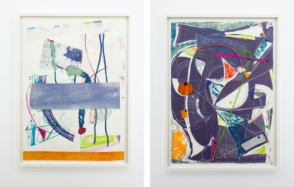 Left: Rachel Eulena Williams, <em>Collagraph (3)</em>, 2019. Etching ink and canvas on paper. Right: <em>Circuit</em>, 2019. Etching ink, canvas, and string on paper, 33 5/8 x 24 1/2  inches each. Courtesy the artist and the Modern Institute, Glasgow.