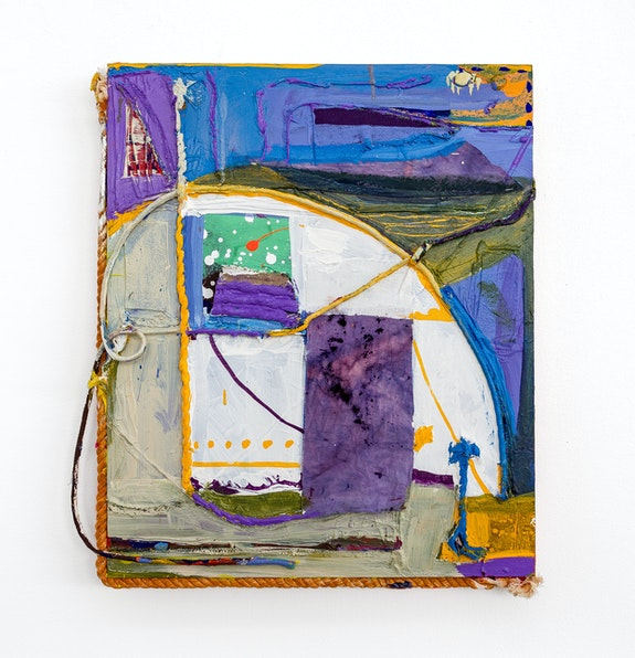 Rachel Eulena Williams, <em>Watching from the Window</em>, 2019. Acrylic, rope, and canvas on wood panel, 24 5/8 x 21 5/8 x 2 3/4 inches. Courtesy the artist and the Modern Institute, Glasgow.