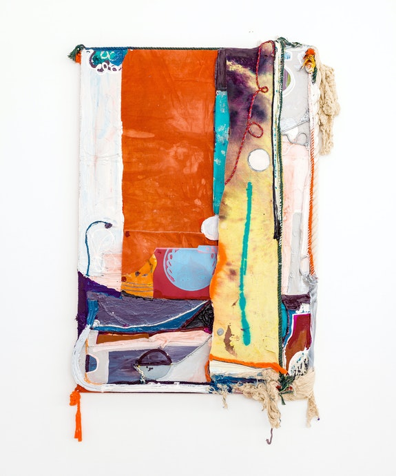 Rachel Eulena Williams, <em>Dawn</em>, 2021. Silkscreen on card, dye and acrylic paint on panel, canvas, and cotton rope, 74 1/8 x 47 1/4 x 5 7/8 inches. Courtesy the artist and the Modern Institute, Glasgow.