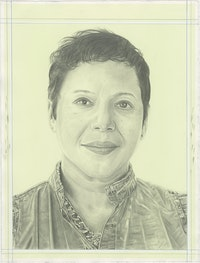 Portrait of Edra Soto, pencil on paper by Phong H. Bui.