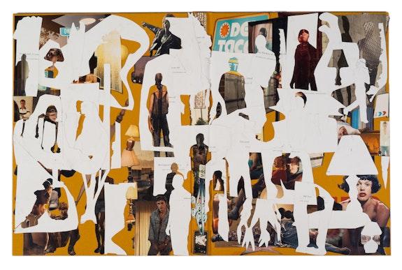 Justine Kurland, <em>Hustlers</em>, 2019. Collage (hardcover), 17 1/2 x 27 1/4 inches. Courtesy Higher Pictures Generation.