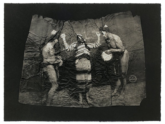 Stephanie Syjuco, <em>Afterimages (Interference of Vision)</em>, 2021. Photogravure printed on gampi mounted on Somerset black 280 gram cotton rag; re-edited photographs of an ethnological display of Filipinos from the 1904 St. Louis World's Fair, 16 x 20 inches. Courtesy Catharine Clark Gallery.