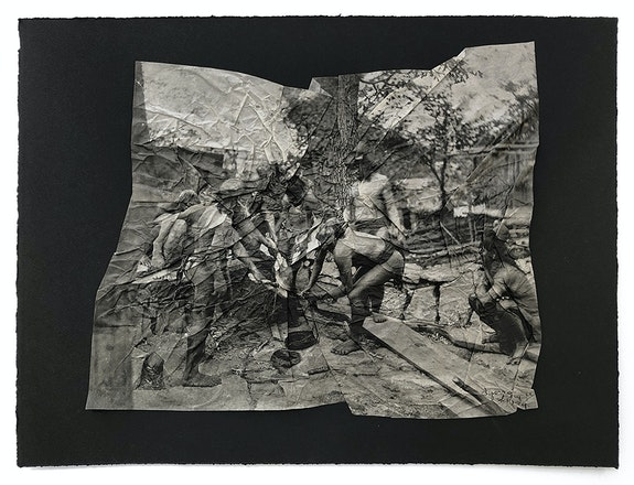 Stephanie Syjuco, <em>Afterimages (Obstruction of Vision)</em>, 2021. Photogravure printed on gampi mounted on Somerset black 280 gram cotton rag; re-edited photographs of an ethnological display of Filipinos from the 1904 St. Louis World's Fair, 16 x 20 inches. Courtesy Catharine Clark Gallery.