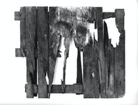 Peter Kennard, <em>Pallet</em>, 1990. Oil, charcoal and dust on wood, 90 x 65 x 14 centimeters. © Peter Kennard. Courtesy the artist and Richard Saltoun Gallery.
