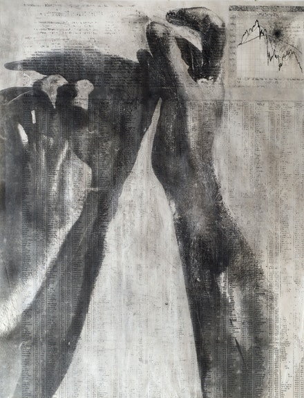 Peter Kennard, <em>Untitled 6 (2020)</em>, 2020. Acrylic, charcoal, graphite, carbon toner, pastel on paper, 79 x 103 1/2 centimeters. © Peter Kennard. Courtesy the artist and Richard Saltoun Gallery.