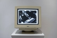 Auriea Harvey, <em>Webcam Movies</em>, 1999. Video (color, sound), CRT monitor, media player, 5 min 56 sec, loop, 17 1/2 x 16 1/2 x 17 inches. Courtesy bitforms gallery, New York. Photo: Emile Askey.