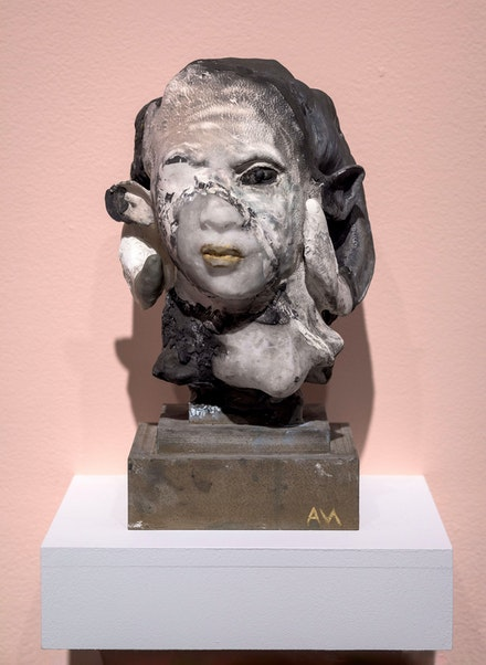 Auriea Harvey, <em>Ram I (ancestor black and white)</em>, 2020. 3D-printed acrylic and composite (PLA plastic, chalk, bronze, iron), bronze powder, self hardening clay, epoxy clay, acrylic, 12 1/4 x 8 1/4 x 8 3/4 inches. Courtesy bitforms gallery, New York. Photo: Emile Askey.