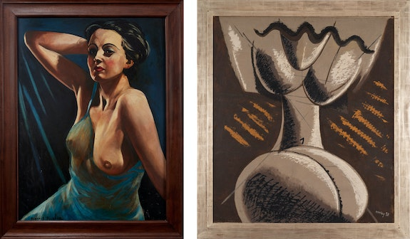 Left: Francis Picabia, <em>Femme à la chemise bleue</em>, 1942-43. Oil on board, 40 3/8 x 29 1/2 inches. Right: Man Ray, <em>Peinture Feminine</em>, 1954. Oil on canvas, 50 x 43 3/4 inches. © Man Ray 2015 Trust / Artists Rights Society (ARS), NY / ADAGP, Paris 2021.</em>