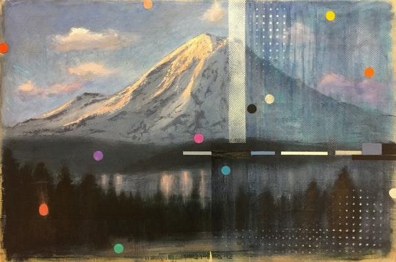 Adam Straus, <em>Big Rock Candy Mountain</em>, 2018.  Oil on paper, 22 x 30 inches. Courtesy Nohra Haime.