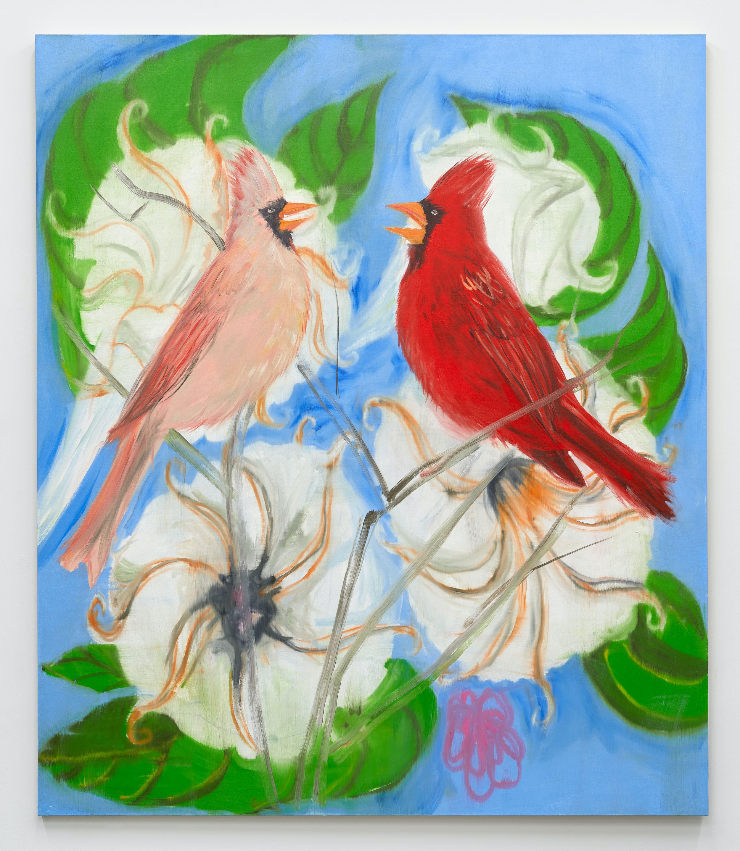 Ann Craven, <em>Portrait of Two Cardinals (after Picabia), 2021</em>, 2021. Oil on canvas, 84 x 72 inches. Courtesy the artist and Karma, New York.