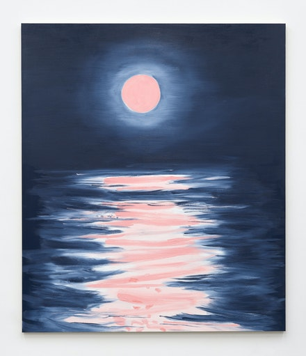 Ann Craven, <em>Big Moon (After Pink Full Moon over Quiet Water), 2021</em>, 2021. Oil on canvas, 84 x 72 inches. Courtesy the artist and Karma, New York.