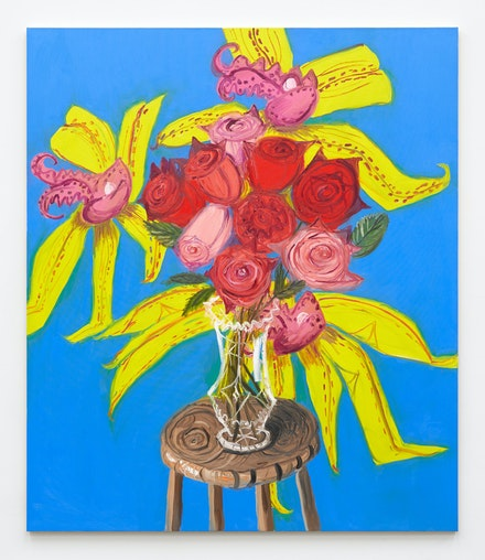 Ann Craven, <em>Roses (on Blue with Orchids, after Buffet), 2021</em>, 2021. Oil on canvas, 84 x 72 inches. Courtesy the artist and Karma, New York.