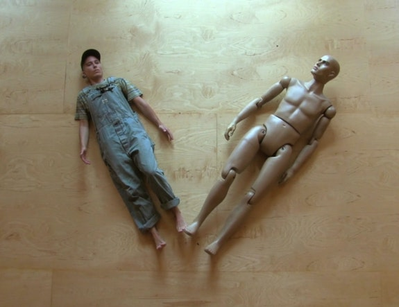 Still of devynn emory and Manny the mannequin, from <em>deadbird</em>.
